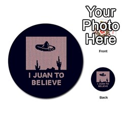 I Juan To Believe Ugly Holiday Christmas Blue Background Multi Purpose Cards (round)  by Onesevenart