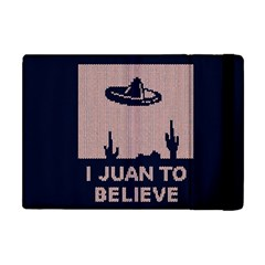 I Juan To Believe Ugly Holiday Christmas Blue Background Apple iPad Mini Flip Case by Onesevenart