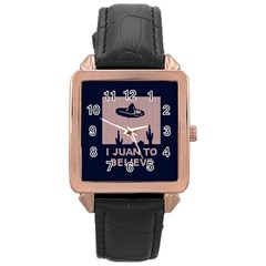 I Juan To Believe Ugly Holiday Christmas Blue Background Rose Gold Leather Watch  by Onesevenart