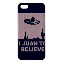 I Juan To Believe Ugly Holiday Christmas Blue Background Apple Iphone 5 Premium Hardshell Case by Onesevenart