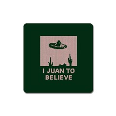 I Juan To Believe Ugly Holiday Christmas Green Background Square Magnet by Onesevenart