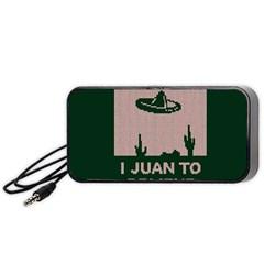 I Juan To Believe Ugly Holiday Christmas Green Background Portable Speaker (black)  by Onesevenart