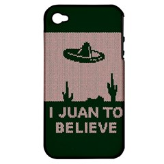 I Juan To Believe Ugly Holiday Christmas Green Background Apple Iphone 4/4s Hardshell Case (pc+silicone) by Onesevenart