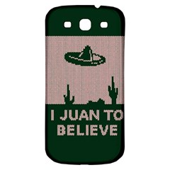 I Juan To Believe Ugly Holiday Christmas Green Background Samsung Galaxy S3 S Iii Classic Hardshell Back Case by Onesevenart
