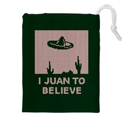 I Juan To Believe Ugly Holiday Christmas Green Background Drawstring Pouches (xxl) by Onesevenart