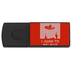 I Juan To Believe Ugly Holiday Christmas Red Background Usb Flash Drive Rectangular (4 Gb)  by Onesevenart