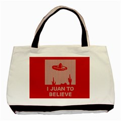 I Juan To Believe Ugly Holiday Christmas Red Background Basic Tote Bag by Onesevenart