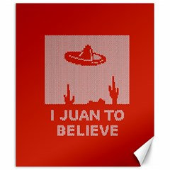 I Juan To Believe Ugly Holiday Christmas Red Background Canvas 20  X 24   by Onesevenart