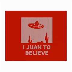 I Juan To Believe Ugly Holiday Christmas Red Background Small Glasses Cloth (2 Side) by Onesevenart
