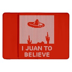 I Juan To Believe Ugly Holiday Christmas Red Background Samsung Galaxy Tab 8 9  P7300 Flip Case by Onesevenart
