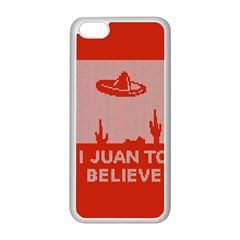 I Juan To Believe Ugly Holiday Christmas Red Background Apple Iphone 5c Seamless Case (white) by Onesevenart