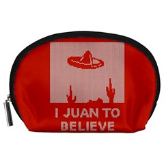 I Juan To Believe Ugly Holiday Christmas Red Background Accessory Pouches (large)  by Onesevenart