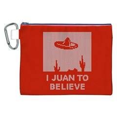 I Juan To Believe Ugly Holiday Christmas Red Background Canvas Cosmetic Bag (xxl) by Onesevenart