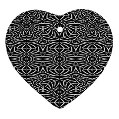 Black And White Tribal Pattern Ornament (heart)  by dflcprints