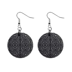 Black And White Tribal Pattern Mini Button Earrings by dflcprints
