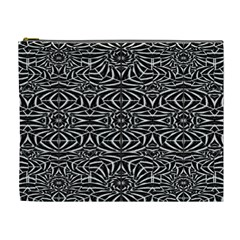 Black And White Tribal Pattern Cosmetic Bag (xl) by dflcprints