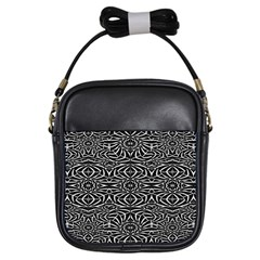 Black And White Tribal Pattern Girls Sling Bags by dflcprints