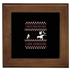 I Wasn t Good This Year, I Was Awesome! Ugly Holiday Christmas Black Background Framed Tiles by Onesevenart