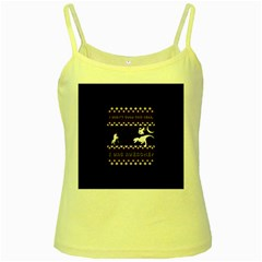 I Wasn t Good This Year, I Was Awesome! Ugly Holiday Christmas Black Background Yellow Spaghetti Tank by Onesevenart