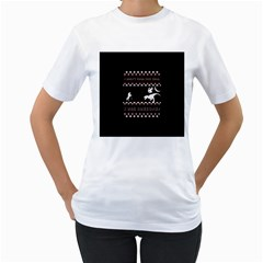 I Wasn t Good This Year, I Was Awesome! Ugly Holiday Christmas Black Background Women s T Shirt (white) (two Sided) by Onesevenart