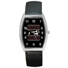 I Wasn t Good This Year, I Was Awesome! Ugly Holiday Christmas Black Background Barrel Style Metal Watch by Onesevenart
