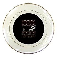 I Wasn t Good This Year, I Was Awesome! Ugly Holiday Christmas Black Background Porcelain Plates by Onesevenart
