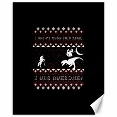 I Wasn t Good This Year, I Was Awesome! Ugly Holiday Christmas Black Background Canvas 11  X 14   by Onesevenart