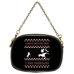 I Wasn t Good This Year, I Was Awesome! Ugly Holiday Christmas Black Background Chain Purses (one Side)  by Onesevenart