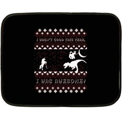 I Wasn t Good This Year, I Was Awesome! Ugly Holiday Christmas Black Background Double Sided Fleece Blanket (mini)  by Onesevenart