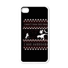 I Wasn t Good This Year, I Was Awesome! Ugly Holiday Christmas Black Background Apple Iphone 4 Case (white) by Onesevenart