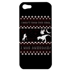 I Wasn t Good This Year, I Was Awesome! Ugly Holiday Christmas Black Background Apple Iphone 5 Hardshell Case by Onesevenart
