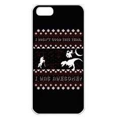 I Wasn t Good This Year, I Was Awesome! Ugly Holiday Christmas Black Background Apple Iphone 5 Seamless Case (white) by Onesevenart