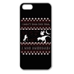 I Wasn t Good This Year, I Was Awesome! Ugly Holiday Christmas Black Background Apple Seamless Iphone 5 Case (clear) by Onesevenart