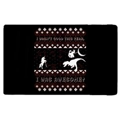I Wasn t Good This Year, I Was Awesome! Ugly Holiday Christmas Black Background Apple Ipad 3/4 Flip Case by Onesevenart