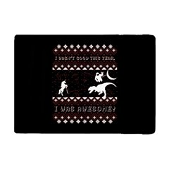 I Wasn t Good This Year, I Was Awesome! Ugly Holiday Christmas Black Background Apple Ipad Mini Flip Case by Onesevenart