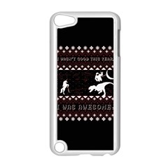 I Wasn t Good This Year, I Was Awesome! Ugly Holiday Christmas Black Background Apple Ipod Touch 5 Case (white) by Onesevenart