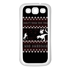 I Wasn t Good This Year, I Was Awesome! Ugly Holiday Christmas Black Background Samsung Galaxy S3 Back Case (white) by Onesevenart