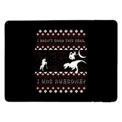 I Wasn t Good This Year, I Was Awesome! Ugly Holiday Christmas Black Background Samsung Galaxy Tab Pro 12 2  Flip Case by Onesevenart