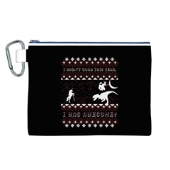 I Wasn t Good This Year, I Was Awesome! Ugly Holiday Christmas Black Background Canvas Cosmetic Bag (l) by Onesevenart