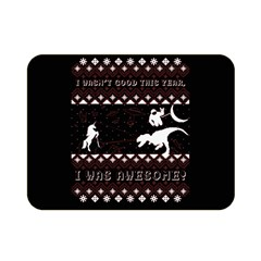 I Wasn t Good This Year, I Was Awesome! Ugly Holiday Christmas Black Background Double Sided Flano Blanket (mini)  by Onesevenart