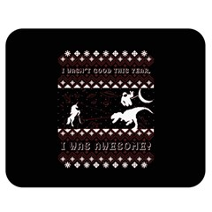 I Wasn t Good This Year, I Was Awesome! Ugly Holiday Christmas Black Background Double Sided Flano Blanket (medium)  by Onesevenart