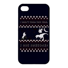 I Wasn t Good This Year, I Was Awesome! Ugly Holiday Christmas Blue Background Apple iPhone 4/4S Premium Hardshell Case