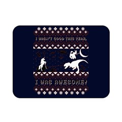 I Wasn t Good This Year, I Was Awesome! Ugly Holiday Christmas Blue Background Double Sided Flano Blanket (Mini)