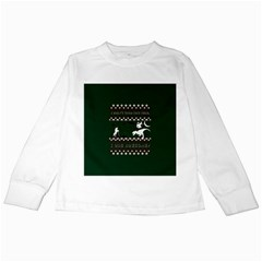 I Wasn t Good This Year, I Was Awesome! Ugly Holiday Christmas Green Background Kids Long Sleeve T Shirts by Onesevenart