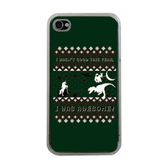 I Wasn t Good This Year, I Was Awesome! Ugly Holiday Christmas Green Background Apple Iphone 4 Case (clear) by Onesevenart