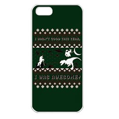 I Wasn t Good This Year, I Was Awesome! Ugly Holiday Christmas Green Background Apple Iphone 5 Seamless Case (white) by Onesevenart