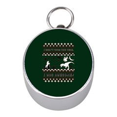 I Wasn t Good This Year, I Was Awesome! Ugly Holiday Christmas Green Background Mini Silver Compasses by Onesevenart