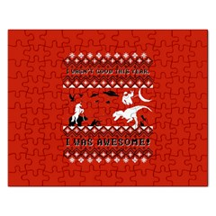 I Wasn t Good This Year, I Was Awesome! Ugly Holiday Christmas Red Background Rectangular Jigsaw Puzzl by Onesevenart