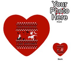 I Wasn t Good This Year, I Was Awesome! Ugly Holiday Christmas Red Background Multi-purpose Cards (Heart)  by Onesevenart