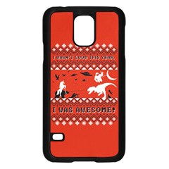I Wasn t Good This Year, I Was Awesome! Ugly Holiday Christmas Red Background Samsung Galaxy S5 Case (black) by Onesevenart